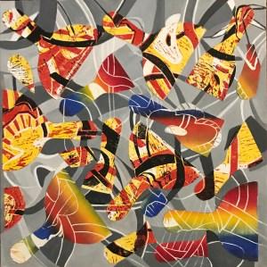 "Lori Gurian, Spatulas Collage, monoprints, Acrylic on canvas, 20""x20"", $300"