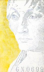 """Jenna Lash, Elsbeth Tucher (German 20 Deutsche Mark Note), Acrylic on canvas, 26""""x42"""", $3,500"""