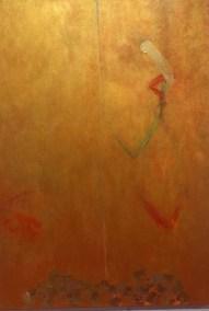 """Diane Churchill, Untitled, Acrylic, gold leaf on canvas, 56""""x40"""", $1,800"""