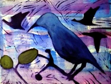 "Meryl Shapiro, Birds, Linocut print on paper, watercolor, 6""x8"", $300"