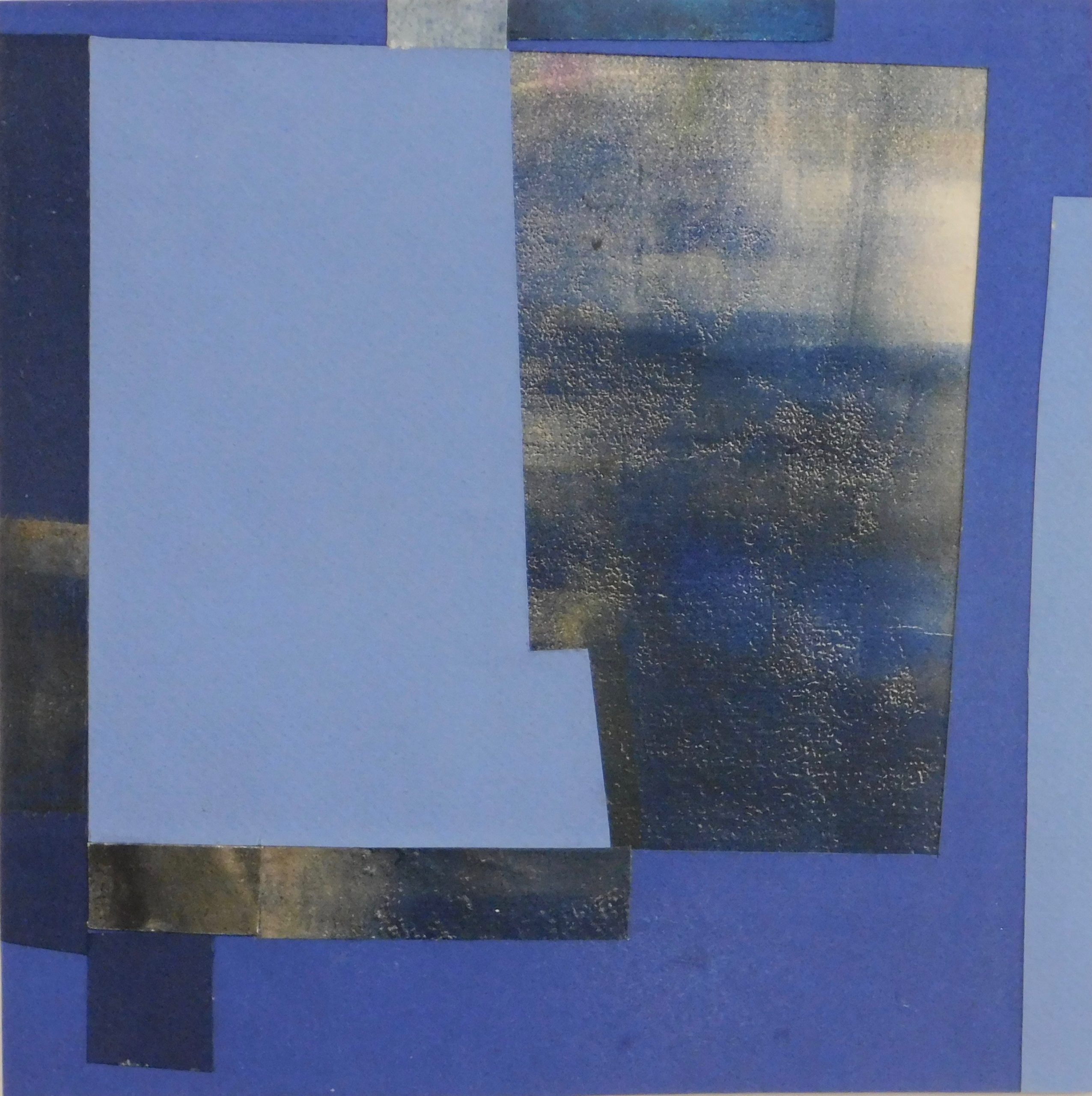"Mitchell Visoky, A Blue Day, Paper collage, 9""x9"", $400"