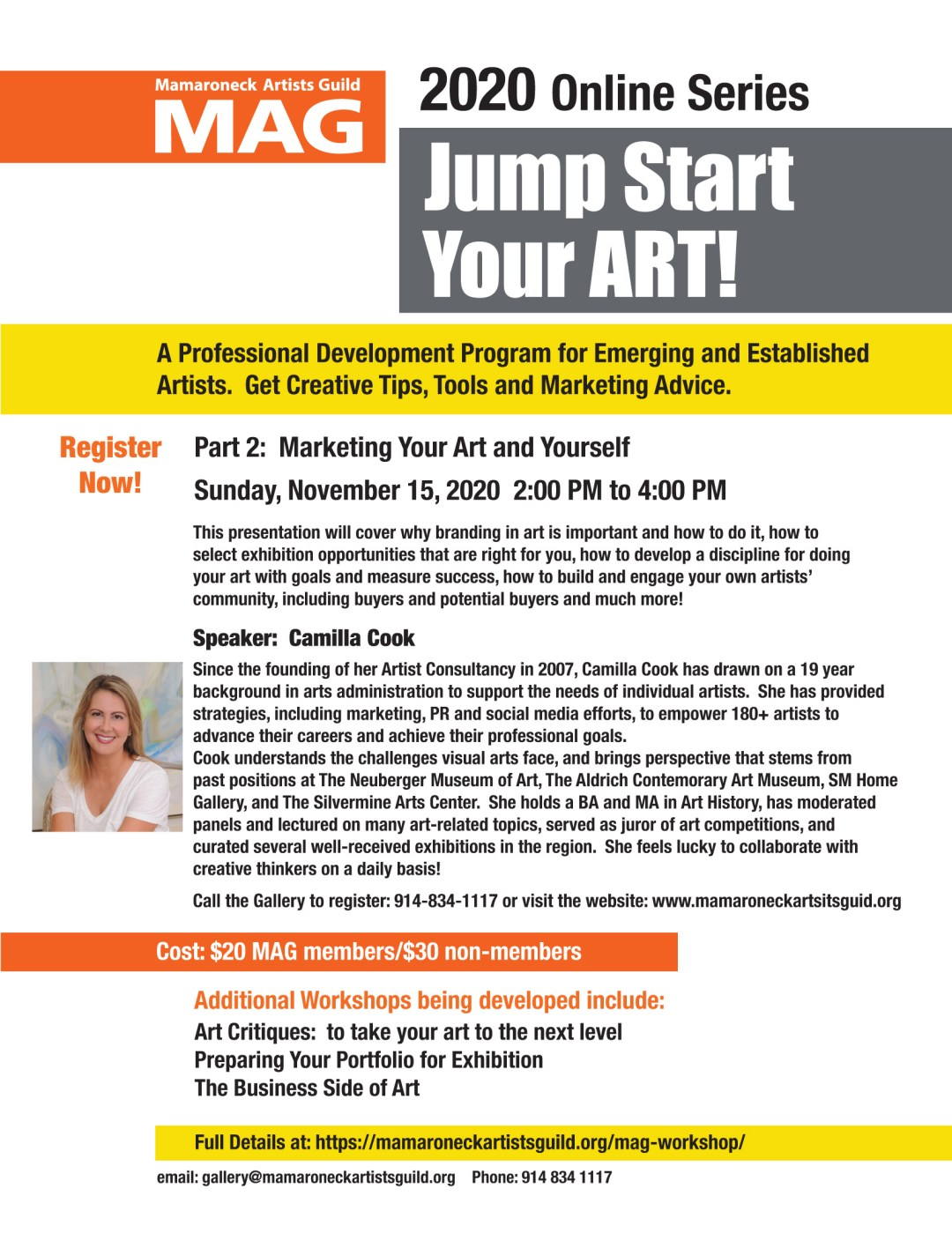 Flyer for MAG Workshop Part 2: Marketing your art