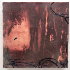 "Christine Aaron, Red Secret, Paper lithography,encaustic on panel, 8""x8"",$175"