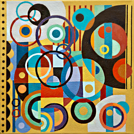 "Larry Gordon, Circular Logic (Study), Acrylic on Canvas, 12""x12"", $500"