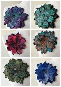 "Elena Rosenberg, Hand-Felted Fiber Art Pins / Brooches in Merino Wool, Silk, and Glass Beads, Fiber / Fine Craft, 6"" diameter, $45 each"
