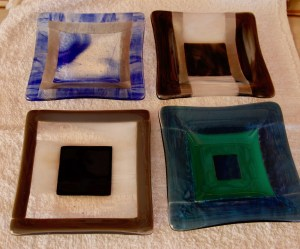 """Mitchell Visoky, Fused glass plates, 5""""x5"""", $55 each"""