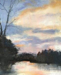 "Arlene Oraby, Edging Towards Evening, Oil on canvas, 16""x20"", $325"