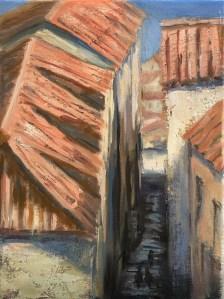 "Deborah Petrucci, Above Dubrovnik, Oil on canvas, 9""x12"", $300"