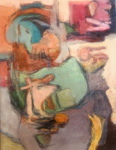 "Paula Blumenfeld, Abstraction, Oil on paper, 17""x13"", $465"