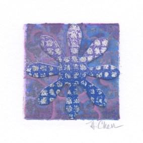 "Diane Cherr, Lush 18, Collagraph Monoprint, matted, 2""x2"", $125"