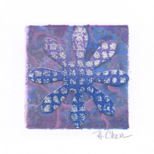 "Diane Cherr, Lush 18, Collagraph Monoprint, matted, 2""x2"", $125"