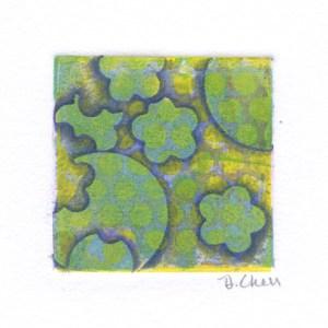"Diane Cherr, Lush 9, Collagraph Monoprint, matted, 2""x2"", $125"