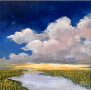 """Denise Petit Caplan, Clearing at Last, Oil on board, 18""""x18"""", $350"""