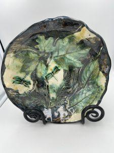 "Robin Henschel, Low leaf bowl, Stoneware, 10""x10""x2"", $56"