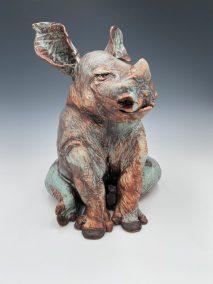 "Robin Henschel,Rhino Akimbo, Stoneware and porcelain, 12""x12""x10"", $274"