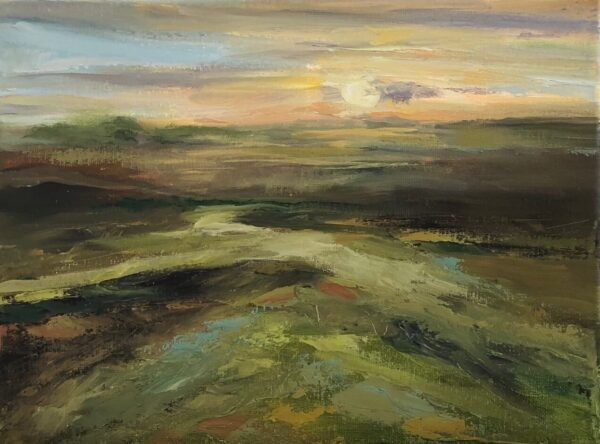 "Deborah Petrucci, A Glowing Future, Oil on canvas, 9""x12"", $350"