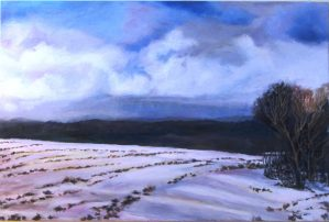 "Sherri Paul, Winter Field, Oil on linen, 30""x36"", $850"