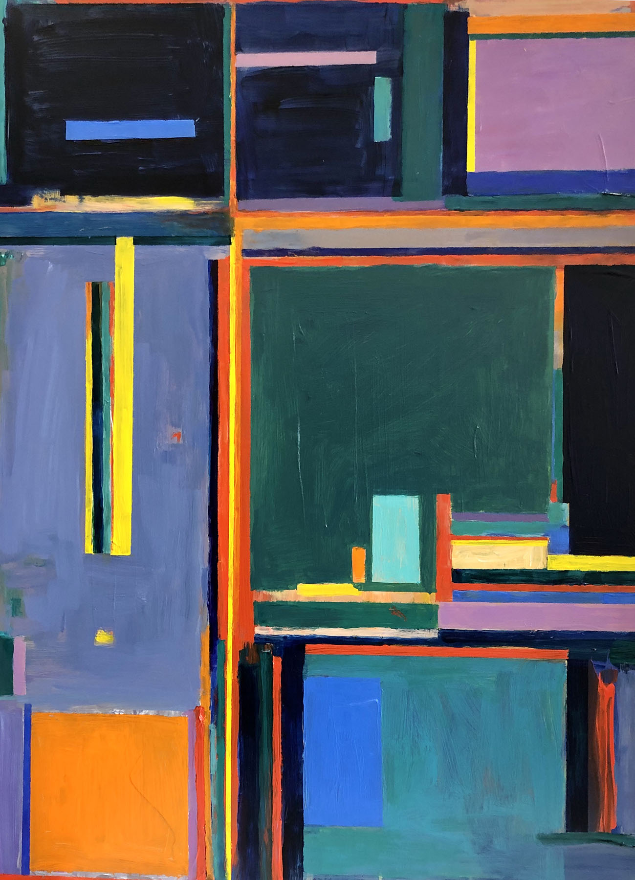 """Marion Schneider, Abstract Rooms, Acrylic, 18""""x24"""", $1,200"""