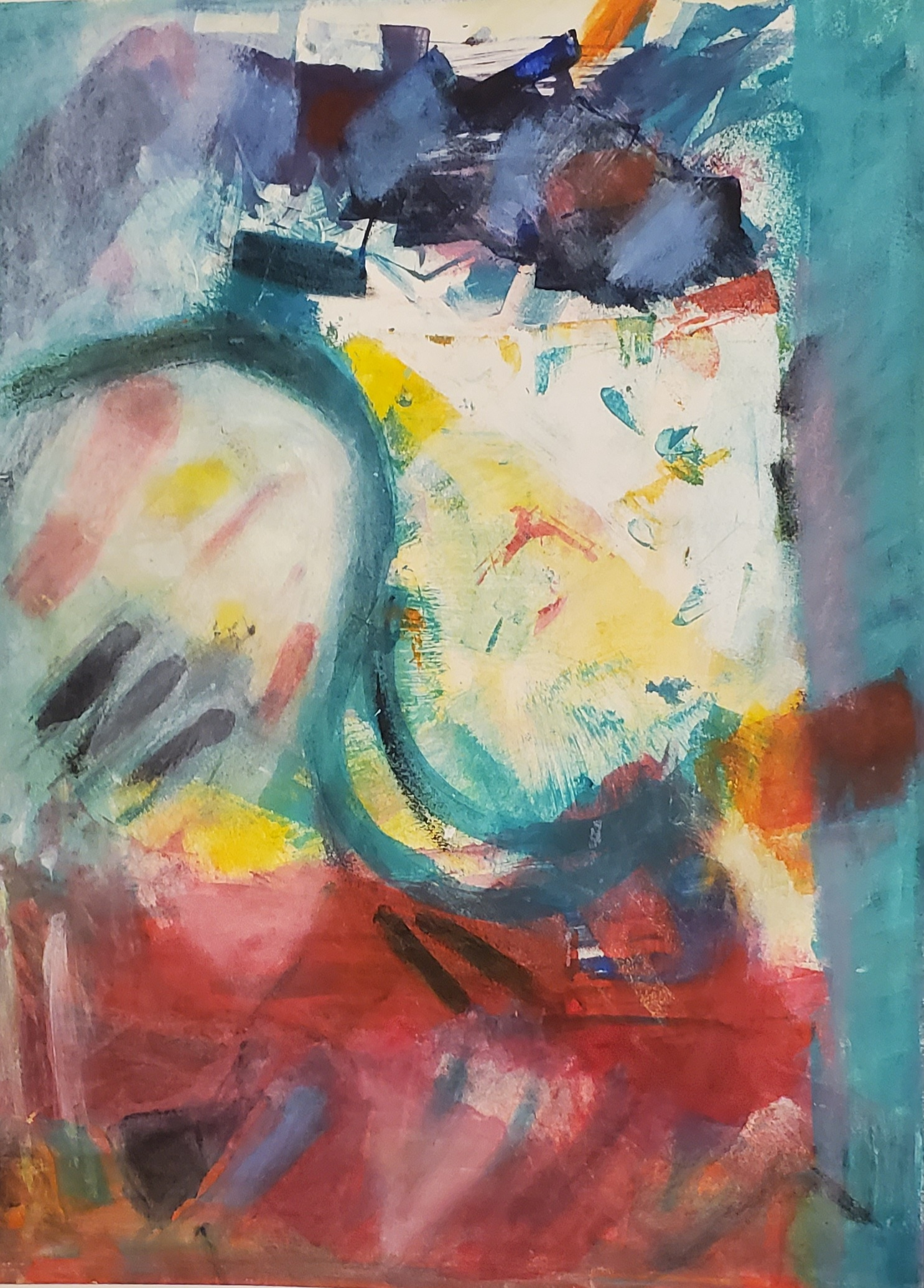 "Helen Pasternack, In a foreign land, Monotype with mixed media, 20""x15"", $350"
