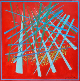"Larry Gordon, Alexa's Flame, Acrylic on Canvas, 20""x20"", $1,100"