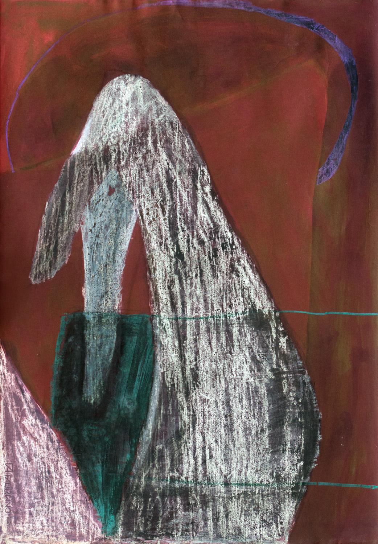 "Kathleen Benton, Venice 7, Wax, dye, crayon on paper, 39""x27.5"", $750"