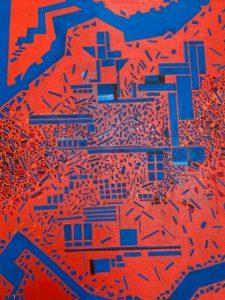 "Larry Gordon, Night Fire, Acrylic on Canvas, 16""x20"", $700"