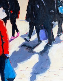 "Marion Schneider, Teens on 5th Ave., Acrylic, 16""x20"", $1,600"