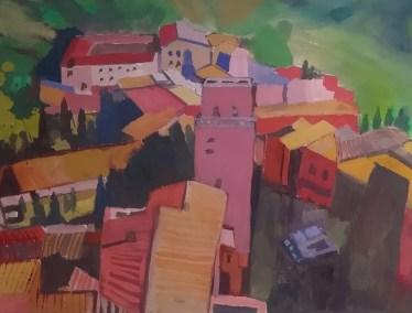 "Meryl Shapiro, Tuscany, Gouache on Paper, 8""x10.5"", $450"