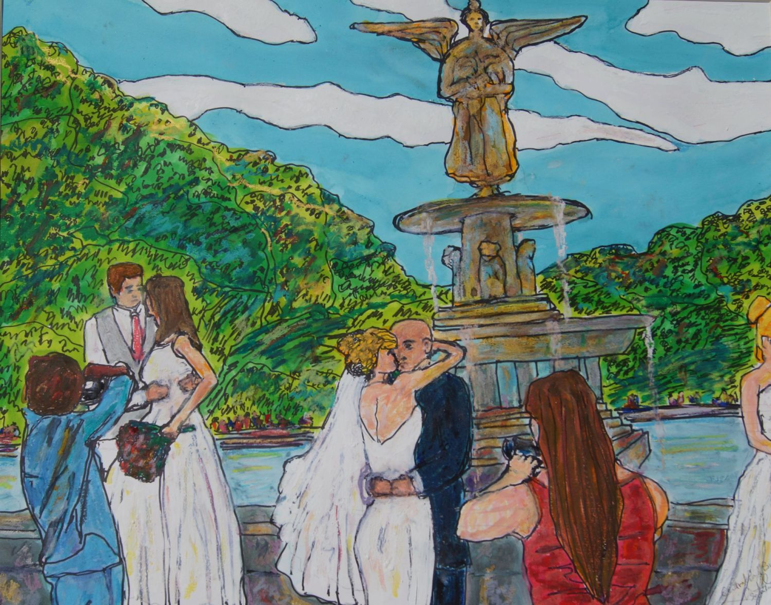 """Don Sexton, Central Park Brides, Mixed media: Inks and oil pastels, 18""""x23"""", $1,100"""