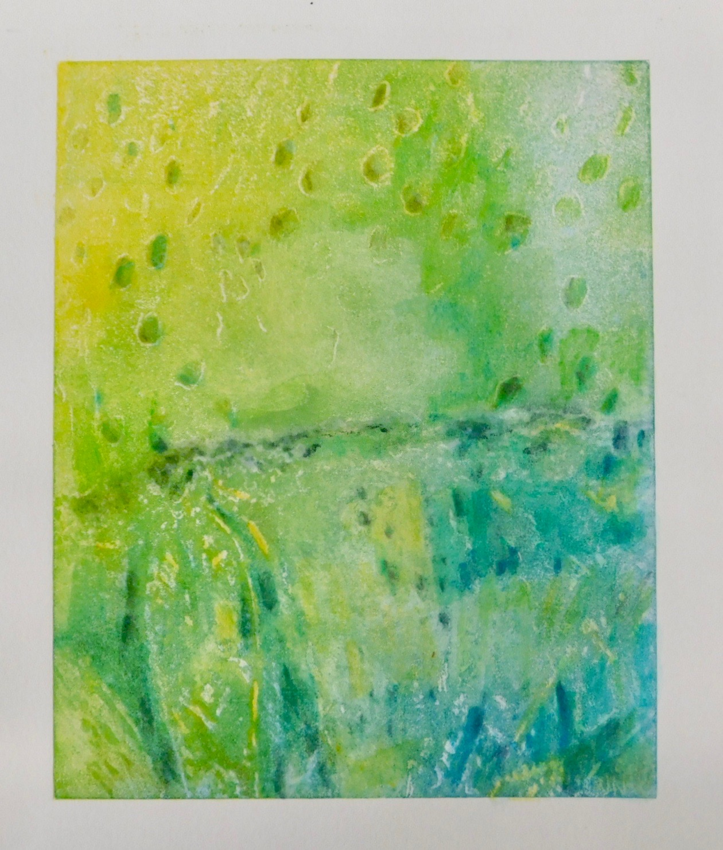 "Mitchell Visoky, Sunshine, Solarplate print, watercolor, pencil, 9.5""x7.5"", $350"