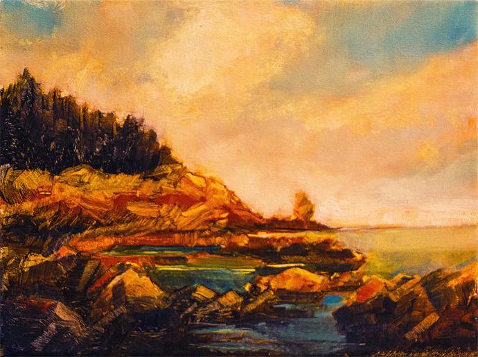"Jane Black, Rocky Shore, 9""x12"", Oil on linen"
