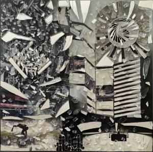 "Christine Knowlton, Metal Bridges, Collage, Mirror, Auto Glass, Acrylic on canvas, 12""x12""x1.5"", $750"