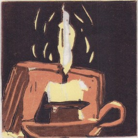 "Lynne Lederman, Candlelight, Reduction linocut, 3""x3"", $75"
