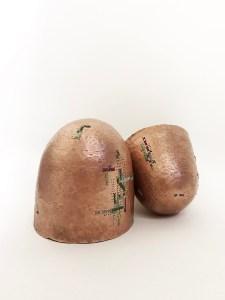 "Leah Zinder, Cross Stitched Vessels, Copper, Fibers, 10""x5""x4"", $1200"
