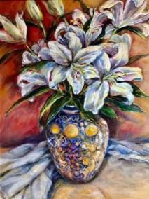 "Helen Schiliro, White Lilies, Acrylic, 16""x20"", $600"