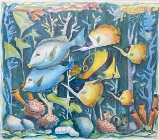 "Inge Pape Trampler, Sea Life #3, Acrylic, 17""x17"", $500"