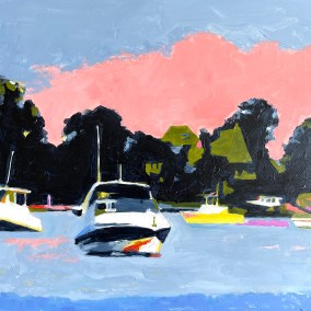 "Marion Schneider, Mamaroneck Harbor #2, Acrylic, 12""x12"", $800"