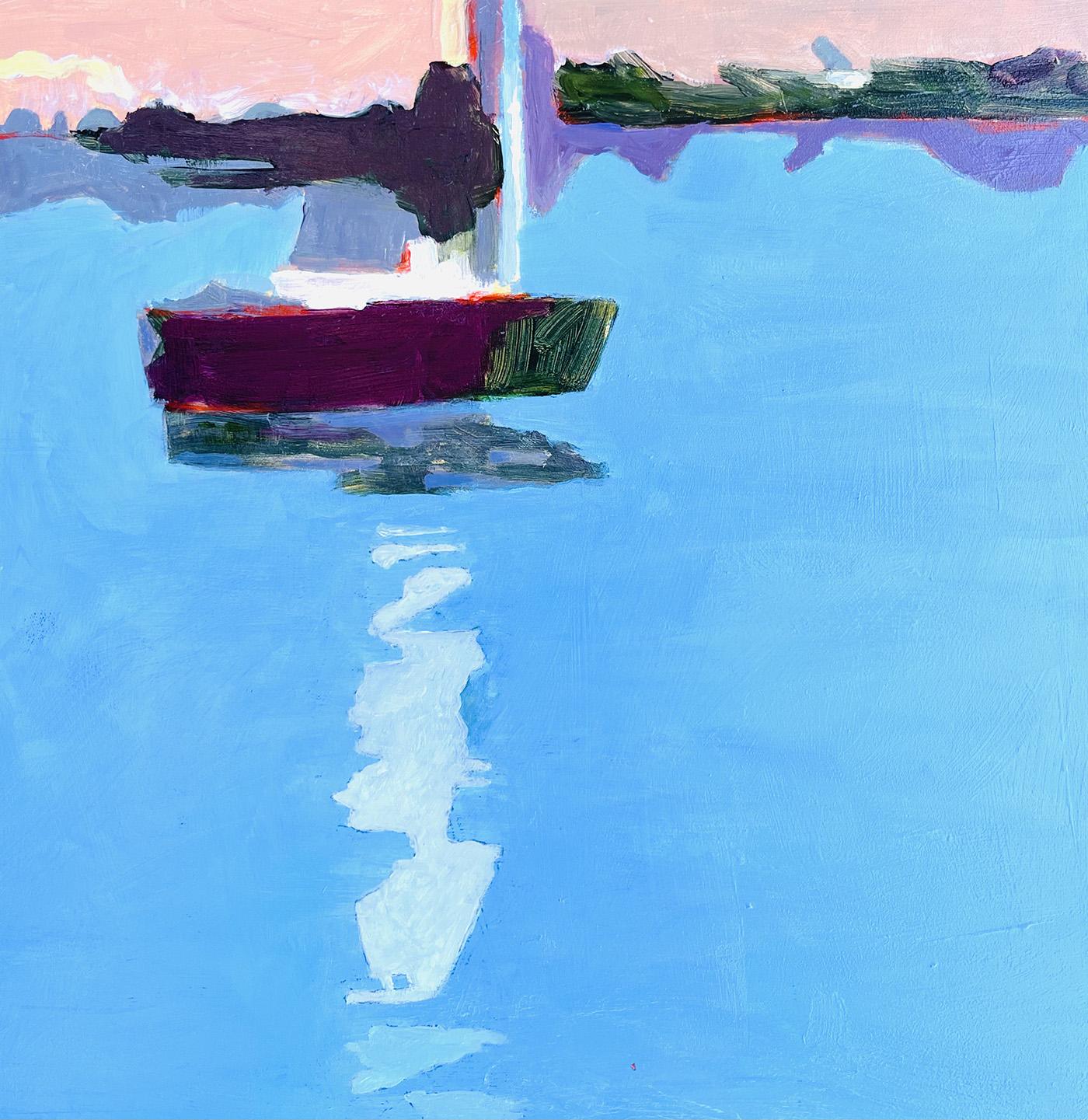 "Marion Schneider, Mamaroneck sailboat, Acrylic, 12""x12"", $800"
