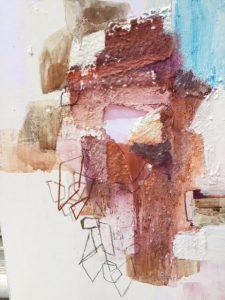 "Barbara Kleinman, Volcano, Mixed media, 8""x10"", $400"