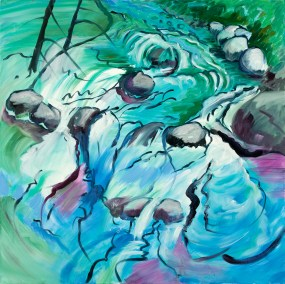 """Hilda Green Demsky, Time Is Fleeting, Oil on canvas, 30""""x30"""", $900"""