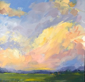 """Denise Petit, Summer Clouds out West, Acrylic on paper, 16""""x16"""", $400"""
