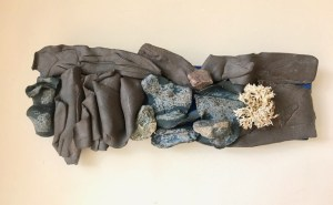 """Jacqueline Lorieo, Drift and Root, Stoneware, rocks, coral, 6.5""""x15""""x2"""", $400"""
