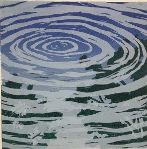 """Sheila M Fane, Water Ring II, Woodcut monoprint, 22""""x22"""", $575"""