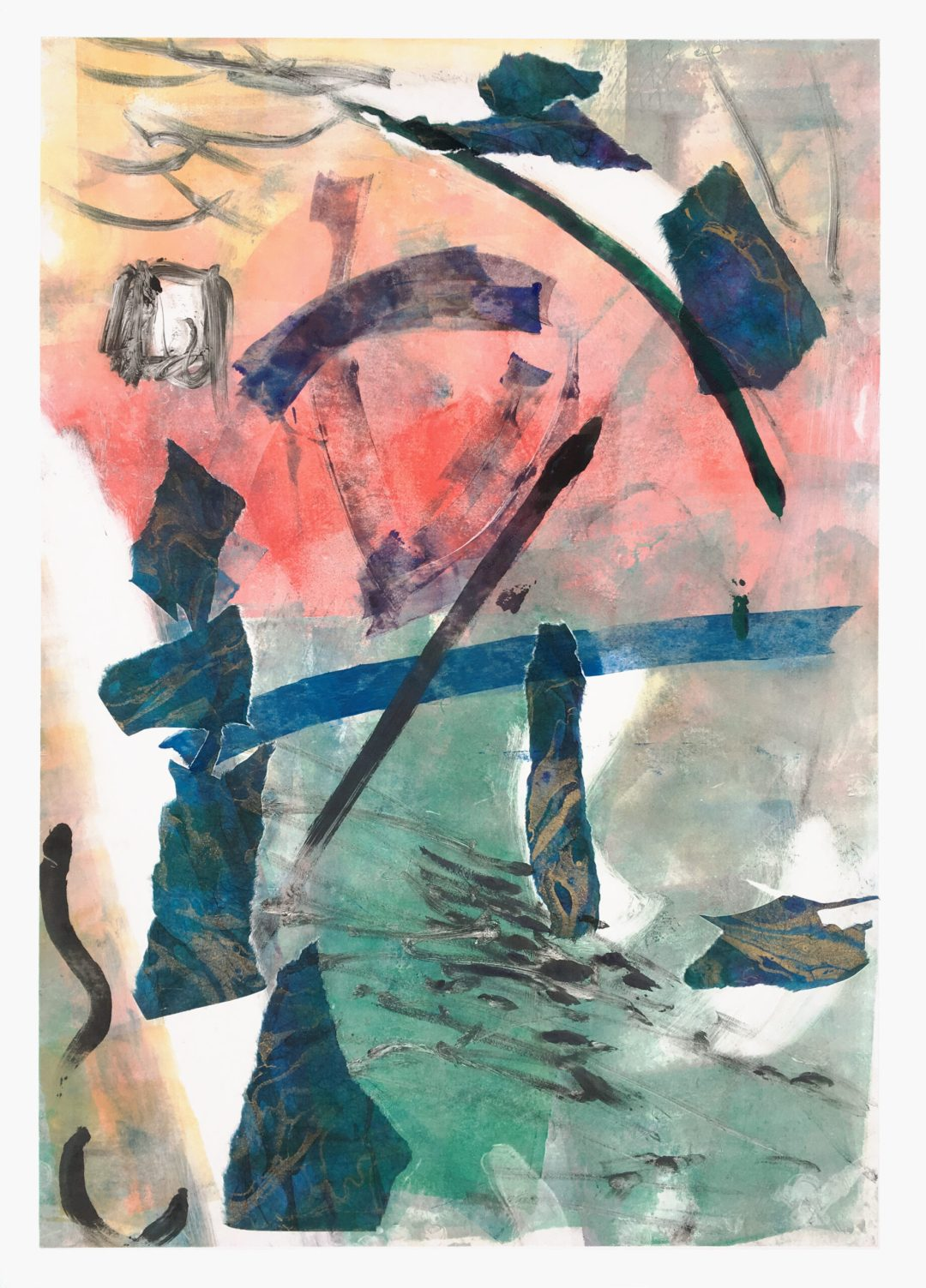 """Stone Garden, Monotype with collage, 24""""x30"""", $700"""