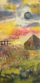 "Mitchell Visoky, Colorland II, Encaustic on cradled panel, 12""x6"", $600"