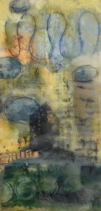 """Mitchell Visoky, Colorland I, Encaustic on cradled panel, 12""""x6"""", $600"""