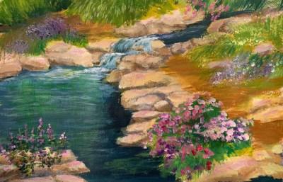 "Naomi Shriber, Water Garden, Acrylic on paper, 16""x20"", $500"