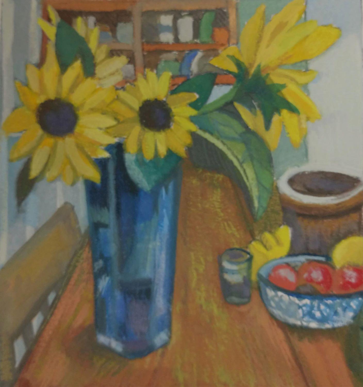 "Meryl Shapiro, Yellow Flowers in Leah's Kitchen, Gouache on Paper, 5.75""x5.25"", $600"