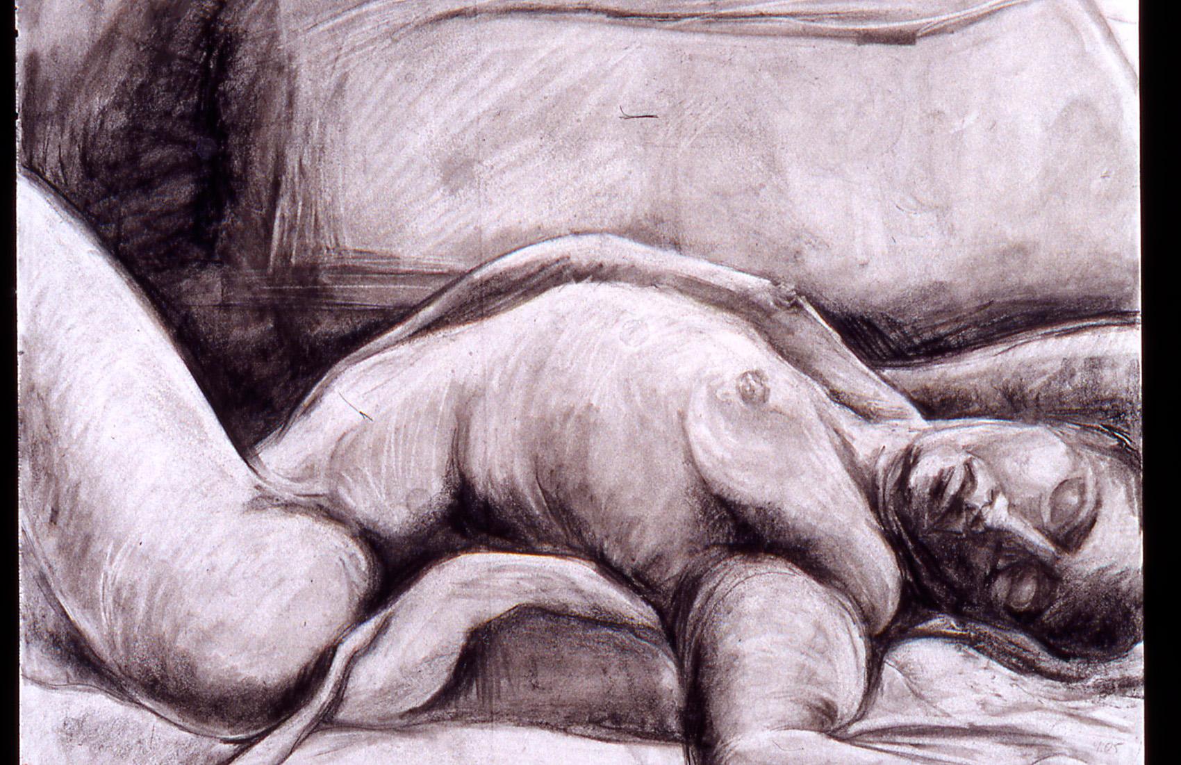 "Paula Blumenfeld, Jeffrey on his back, Charcoal on paper, 24""x30"", $995"