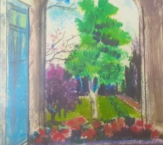 "Vivian Bergenthal, By the Garden, Mixed Media, 9""x12"", $595"